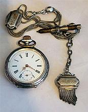 1 silver pocket (mechanism starts), with 1 old watch chain