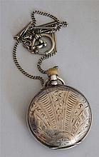 Old silver pocket watch , function checked , to old watch chain , good condition