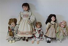 5 artist dolls, different designs
