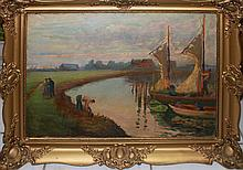 Unknown artist, Oil painting on canvas, fishing boats with village scenery in the backgroud