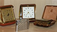 Small Lot travel clock , a total of 3 pieces , with 1 x Kienzle , function not checked , a