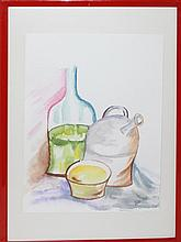 Erika Mees, watercolor behind glass,