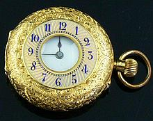 750 gold pocket watch with enamel