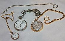Lot pocket watches, partly without function, 2 x silver