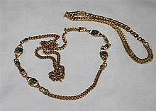 2 costume jewellery chains, 1x golden-coloured, takes with blue and green stones