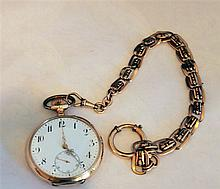 585. gold pocket watch with old watch chain