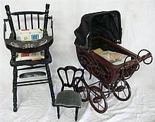 1 doll carriage and 1 high chair for dolls, 1 Dolls chair