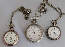 Lot of 3 defective pocket watches , 2 x with chain , with 1 x Waltham Watch