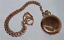 well preserved, gold plated pocket watch in original box with beautiful watch chain