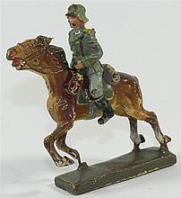 Lineol soldier on horseback. Mass handpainted. Marked. 7 cm - series
