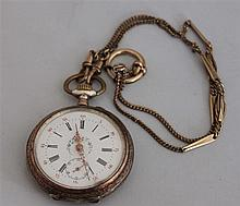 old pocket watch with painting , function checked , with old watch chain
