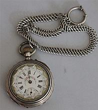 1 old pocket watch in silver , probably alpenländlich tested, with painting