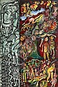 Mirka Mora (born 1928) Figures with Animals mixed media on card (9 pieces)