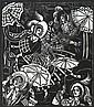 Thea Proctor (1879-1966) Bonnets, Shawls, Gay Parasols circa 1938 linocut no. 36