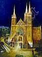 Bill Coleman (1922-1993) St Patrick's Cathedral oil on canvas on board