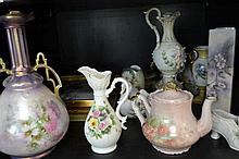 SHELF OF ASSORTED FLORAL THEMED ITEMS INCL. PAINTED TILES, VASES, ETC.
