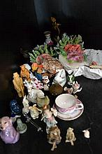PART SHELF OF ASSORTED MINIATURE ITEMS, INCL. LIMOGES, MURANO, TOBY JUGS, E