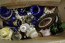 BOX OF ASSORTED ITEMS INCL. GERMAN POTTERY, JAPANESE PORCELAIN, ETC.