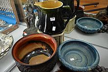 FOUR ASSORTED POTTERY PIECES INCL. DECO, ETC.