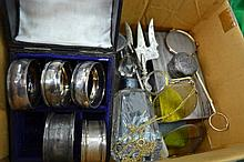 BOX OF ASSORTED SILVER ITEMS INCL. DESK SET, DEMITASSE SPOONS, ETC.