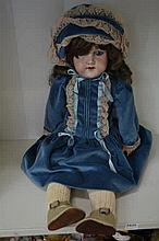 ARMAND MARSEILLE DOLL. 390 8M, OPEN MOUTH, WEIGHTED EYES, DAMAGE AND REPAIR