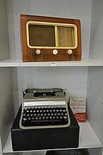 OLIVETTI 'STUDIO' TYPEWRITER IN ORIGINAL CASE AND A 'PYE' VALVE RADIO