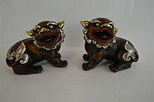 PAIR OF BRONZE SILVER/GILT OVERLAID FO DOGS