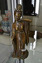 CHINESE BRONZED FIGURE OF A LADY WEARING A ROBE