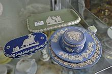 GROUP OF JASPERWARE INCL. PILL BOXES AND DISHES