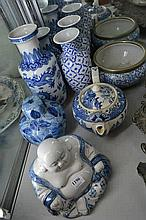 COLLECTION OF BLUE AND WHITE PORCELAIN, INCL. A BUDDHA, TEAPOT, SALAD BOWL,