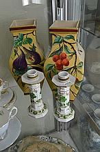 A PAIR OF HANDPAINTED VASES AND CANDLESTICKS