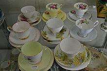 SEVEN TRIOS AND ONE CUP AND SAUCER, INCL SHELLEY, ROYAL ALBERT, ETC