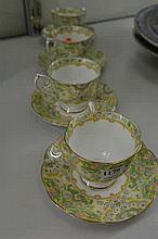 FOUR ROYAL ALBERT 'PAISLEY SHAWL' CUP AND SAUCERS