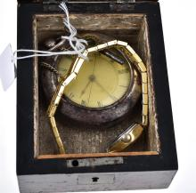 A LADIES FELICIA WRISTWATCH, WITH A CASED POCKET WATCH, IN A WOODEN BOX
