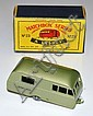 MATCHBOX 1-75 SERIES 23C BLUEBIRD DAUPHINE CARAVAN, METALLIC GREEN INCLUDING BASE, WITH TOW-BAR BRACE, 'ON TOW' DECAL TO REAR, ROUND.