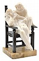 AN ITALIAN ALABASTER PIERROT ON BRONZE CHAIRCIRCA 1925