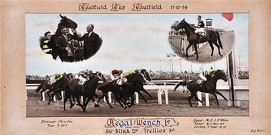 PHOTOGRAPH OF THE FINISH OF THE 1959 CAULFIELD CUP WON BY REGAL WENCH Overall 34cm x 64cm