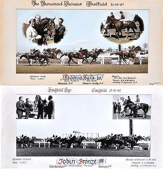 PHOTOGRAPH OF THE FINISH OF THE 1967 CAULFIELD CUP WON BY TOBIN BRONZE Largest overall 34cm x 64.5cm