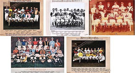 FIVE GROUP PHOTOGRAPHS OF JOCKEYS Largest 29.5cm x 43cm