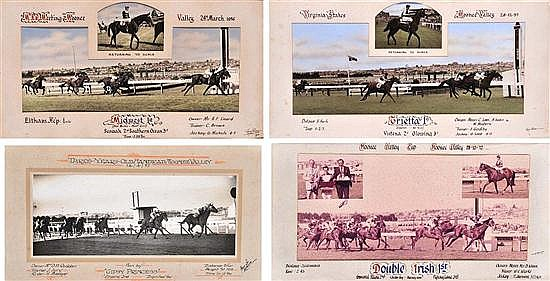 FOUR PHOTOGRAPHS OF RACE FINISHES AT MOONEE VALLEY Largest overall 39cm x 60cm