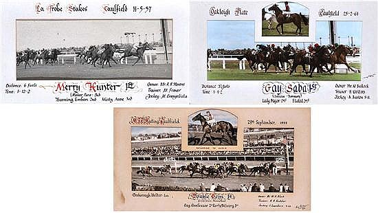 THREE PHOTOGRAPHS OF 1950S CAULFIELD RACE FINISHES
