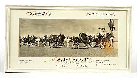 PHOTOGRAPH OF THE FINISH OF THE 1951 CAULFIELD CUP WON BY BASHA FELIKA Overall 34cm x 64cm