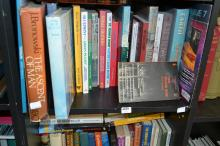 A SHELF OF BOOKS ON THE ENVIRONMENT INCL. 'TO THE ENDS OF THE EARTH', TIM FLANNERY, ETC.