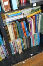 A SHELF OF TRAVEL LITERATURE AND GUIDES INCL. THE MAN ON A DONKEY AND WHICKER'S WORLD DOWN UNDER