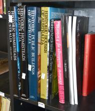 A PART SHELF OF BOOKS RELATING TO THE HISTORIC HOMES AND BUILDINGS OF AUSTRALIA