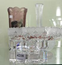 FOUR ASSORTED ART GLASS ITEMS INCL. A DECANTER,  A COMPORT, VASE AND A SMALL BOWL