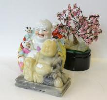 A COLLECTION OF ASIAN ITEMS INCLUDING PORCELAIN, BUDDHA AND STONE TREE