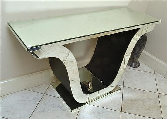 AN ART DECO STYLE MIRRORED CONSOLE, WITH A LYRE BASE 140 X 80 X 49.5CM