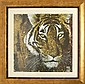 A GILT WOOD FRAMED DECORATIVE PRINT OF A TIGER66.5 X 67CM