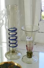TWO BOHEMIAN GLASS SPILL VASES